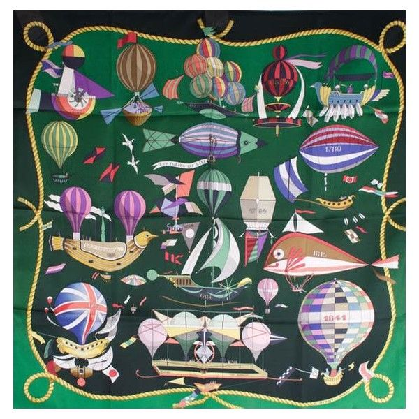Pre-Owned Hermès Silk Scarf 'Les Folies Du Ciel' ($299) ❤ liked on Polyvore featuring accessories, scarves, multi colored scarves, silk scarves, green silk scarves, green scarves and pure silk scarves