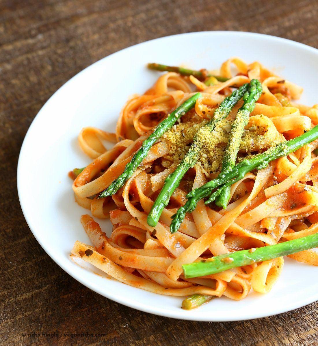 Fettuccine with Tomato Cream Sauce and Asparagus - Vegan Richa