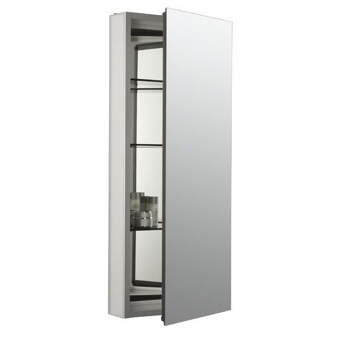 Catalan 15 X 36 Aluminum Single Door Medicine Cabinet With 107 Degree Hinge Recessed Medicine Cabinet Single Doors Adjustable Shelving