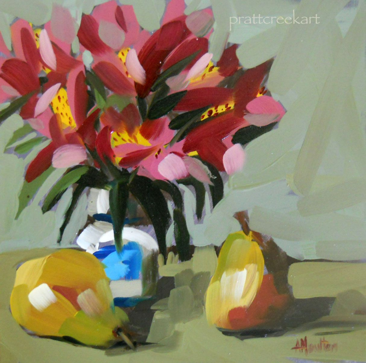 alestroemeria in russian vase with pears | angela moulton's painting a day