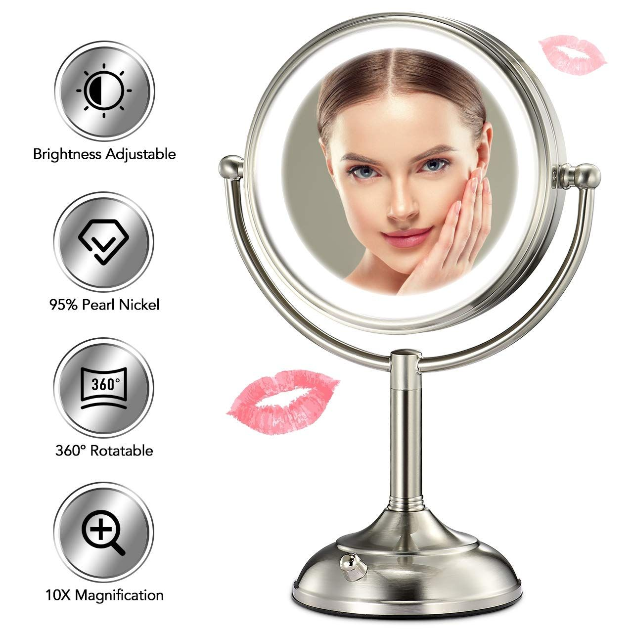 Professional 8.5 Lighted Makeup Mirror, 10X Magnifying