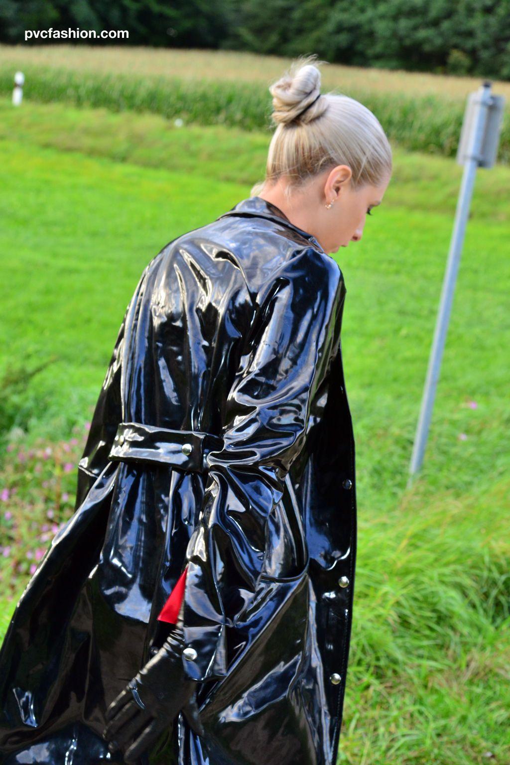 Caught In PVC rainwear by KEMO Cyberfashion, two tone PVC