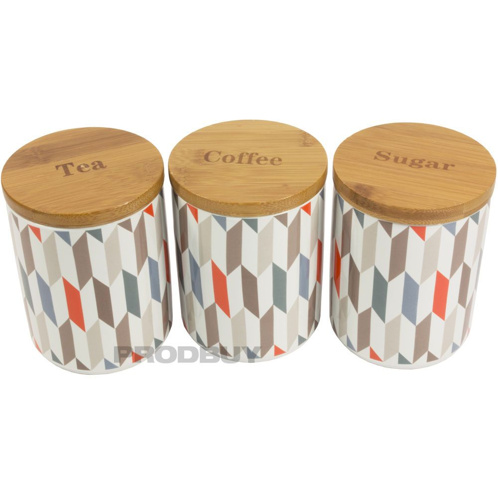 Price Kensington Geometric Ceramic Tea Coffee Sugar Storage Canisters Jars