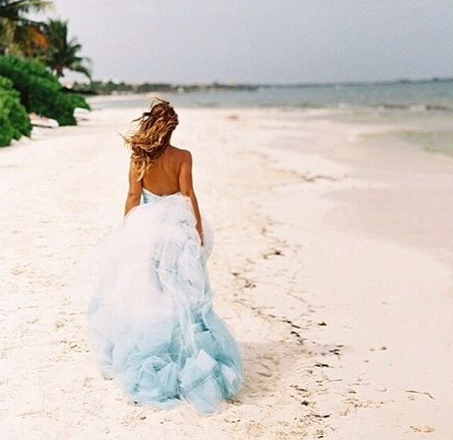 Beach Wedding Dress For The Dip Dyed Blue Gown