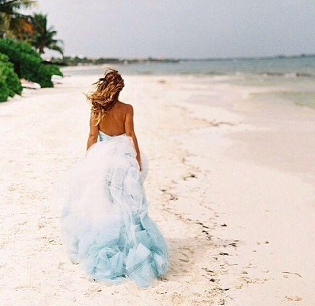 Beach Wedding Wedding Dress For The Beach Dip Dyed Dress Blue