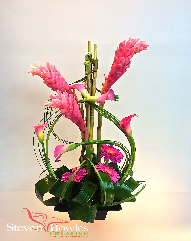 Modern tropical floral arrangement of ginger and calla lilies modern tropical floral arrangement of ginger and calla lilies designed by steven bowles creative dhlflorist Images