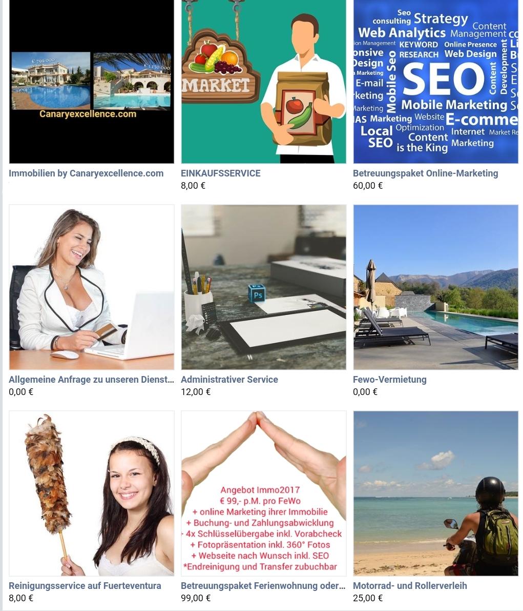Dienstleistungen Marketing, Fuerteventura und Einkaufen