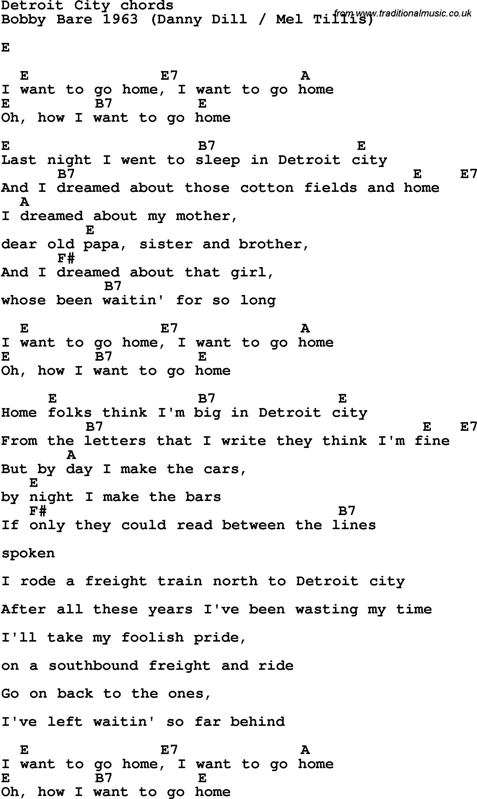 Song Lyrics With Guitar Chords For Detroit City Guitarlessons Guitar Lessons Songs Lyrics And Chords Learn Guitar Chords