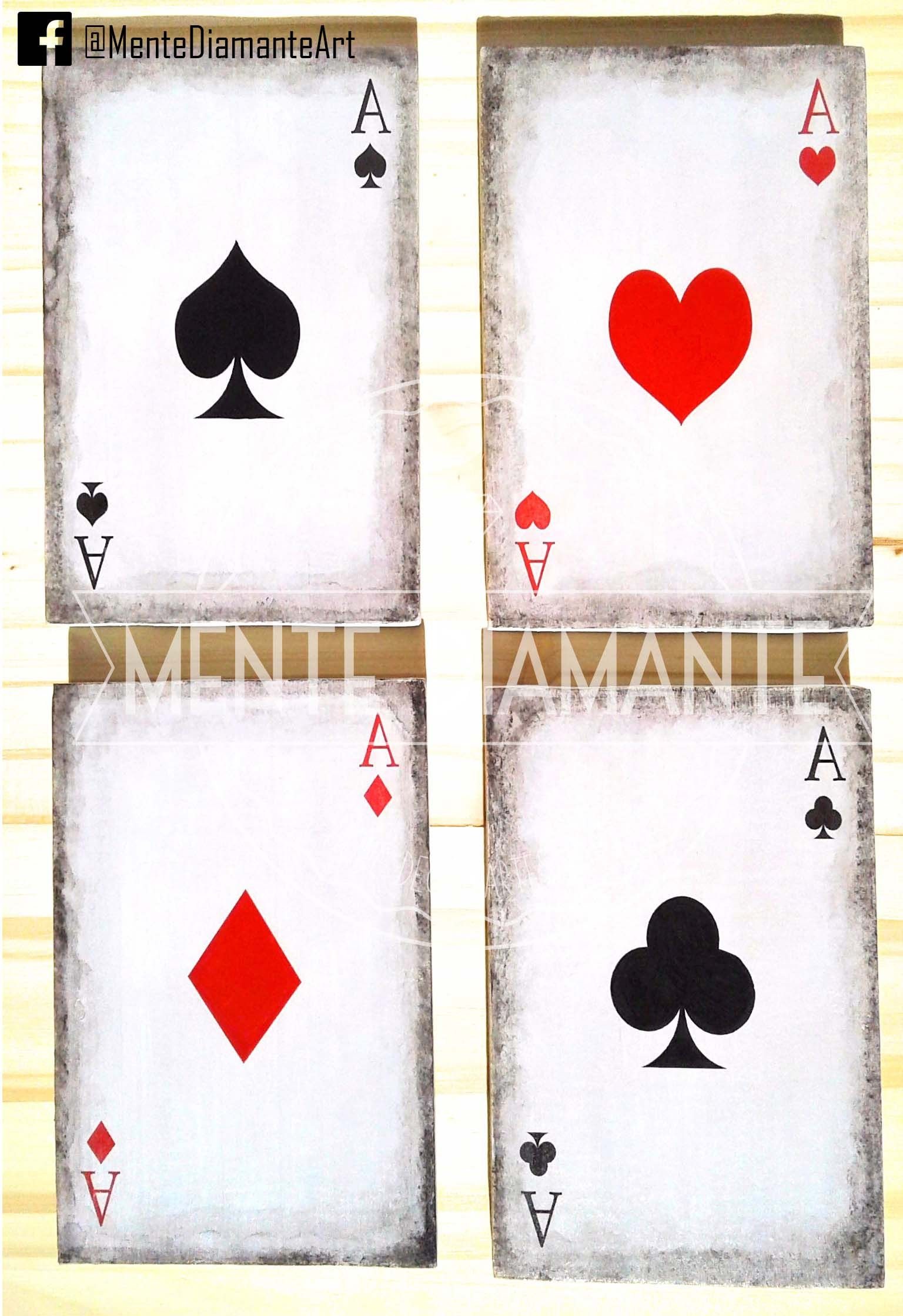 Set Cartas Naipes Poker Ases Madera As Casino Apuestas Deco 680 00 Tatuajes Cartas De Poker Tatuajes De Poker Cartas Naipes