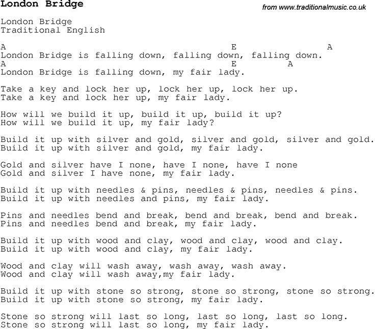 Image Result For London Bridge Is Falling Down Lyrics Nursery Songs Song