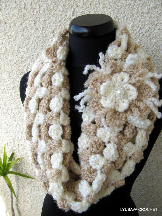 Crochet Cowl Pattern Chunky Cowl Scarf With Flower Elegant Beige