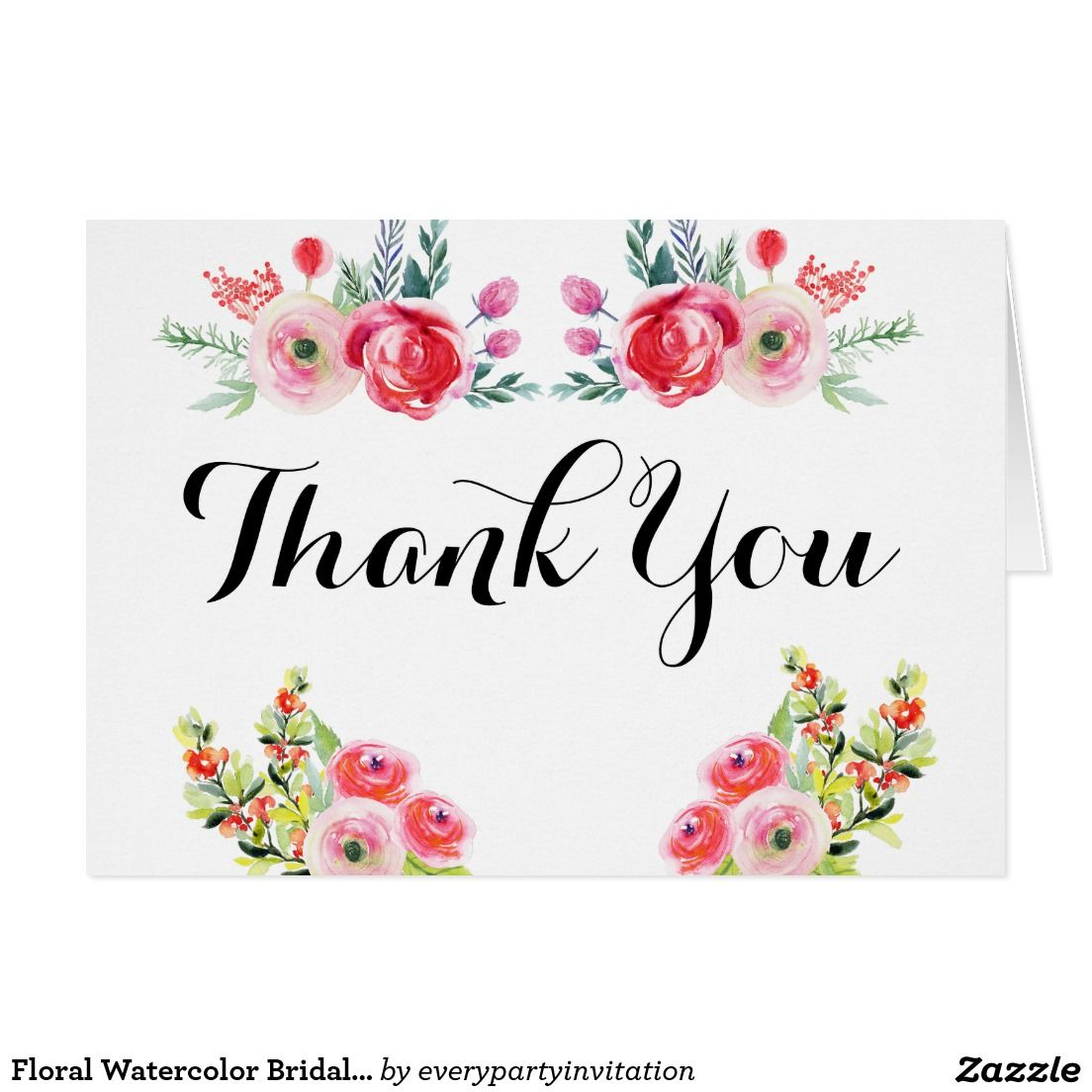 Floral Watercolor Bridal Shower Thank You Notes
