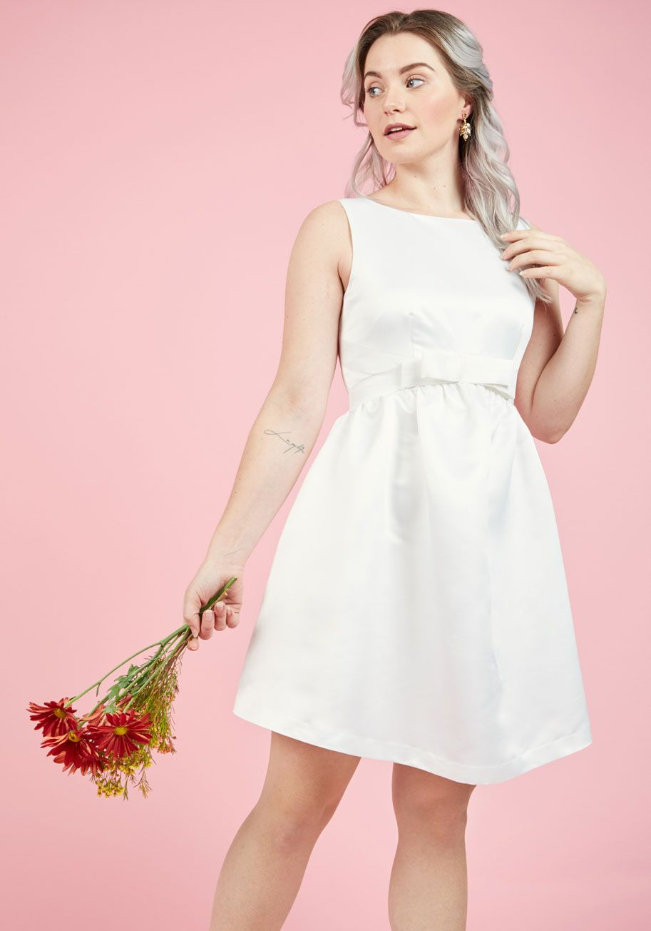 Sunlit Ceremony A-Line Dress in White | Mod Retro Vintage Dresses ...