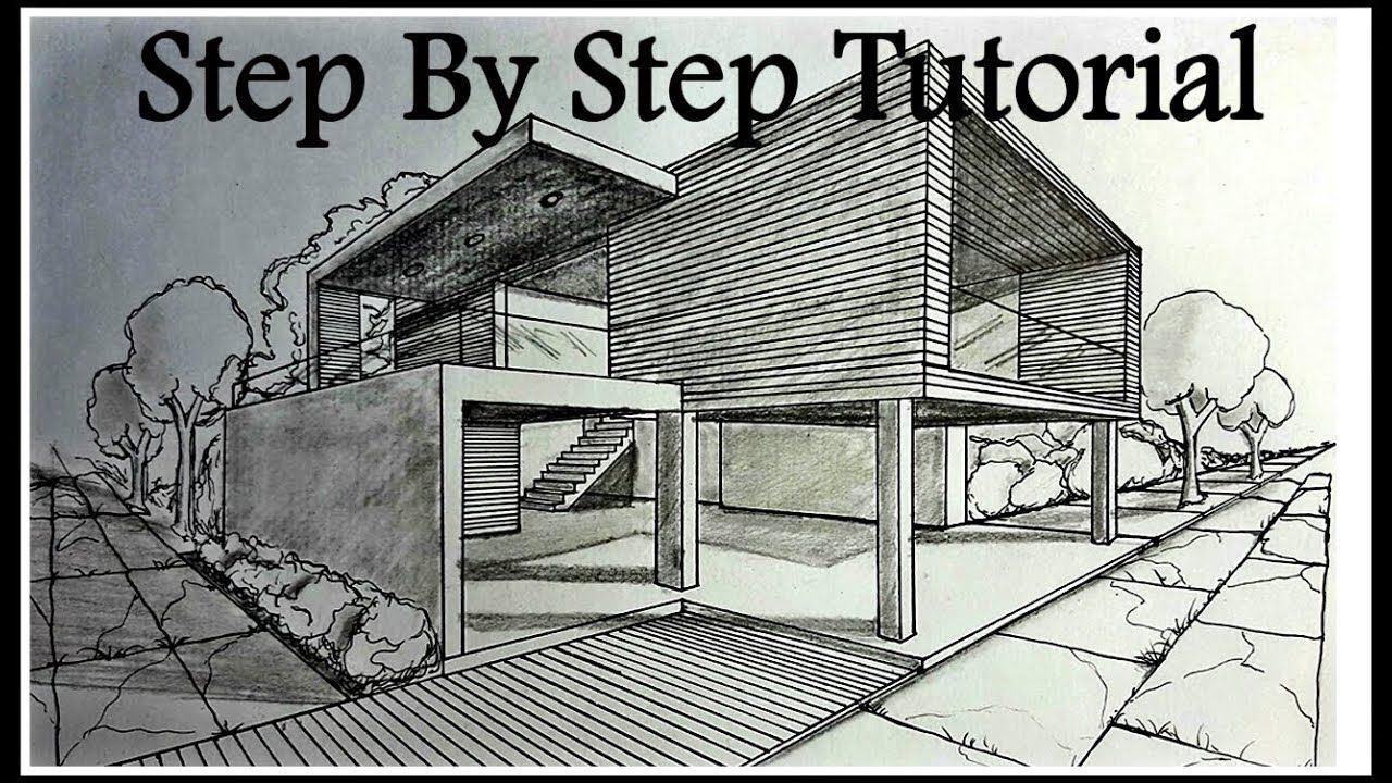 How To Draw A House In Two Points Perspective Step By Drawing Living