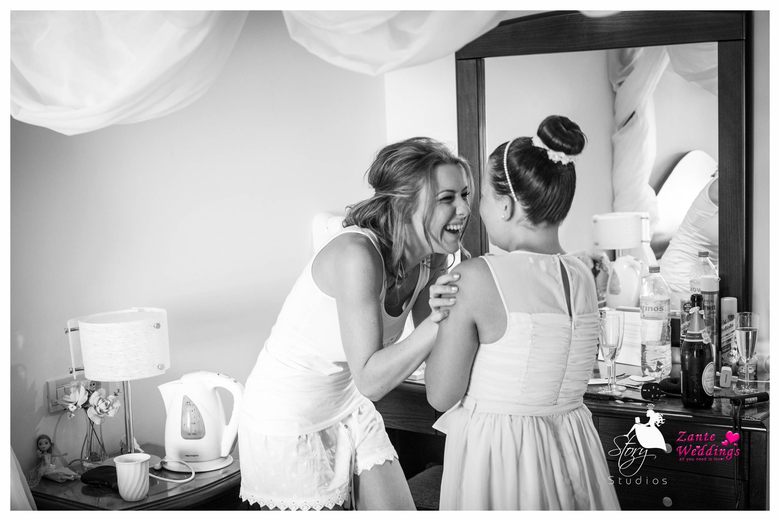 A lovely moment between the bride and her flower girl