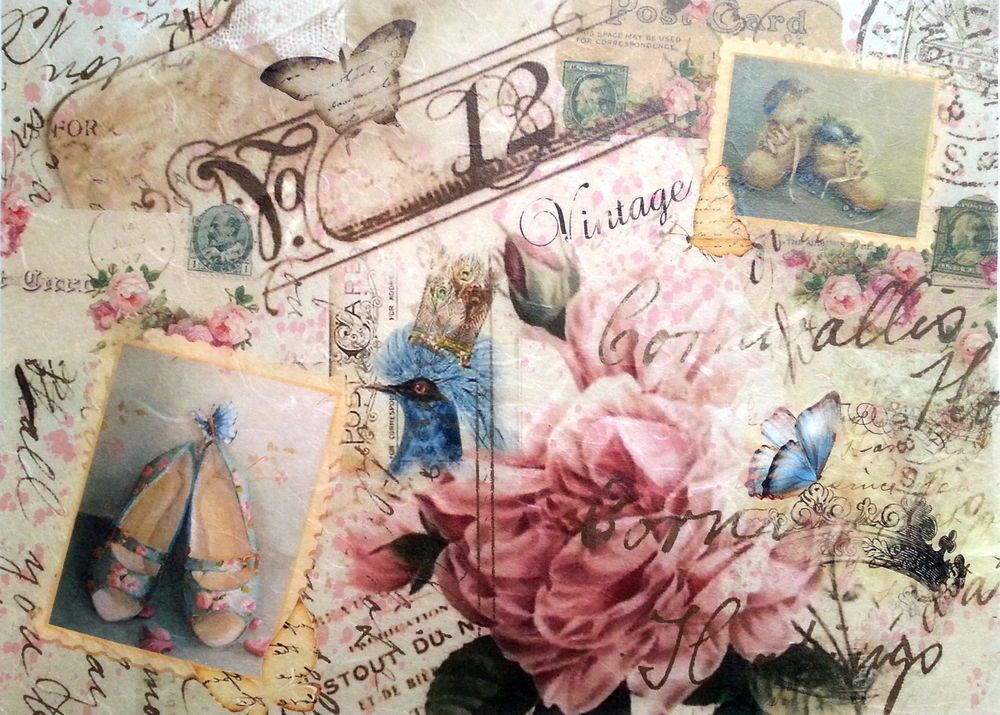 Rice Paper Vintage Young Ladies for Decoupage Decopatch Scrapbook Craft Sheet