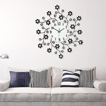 horloge murale moderne en fer forgé à motif floral