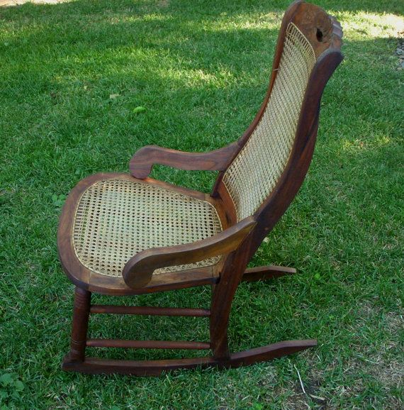 Antique Rocking Chair - Wood and Cane Seat - LOCAL pick up or delivery  only. $400.00, via Etsy. - Antique Rocker, Vintage Rocking Chair, Cane Seat, Antique Chair