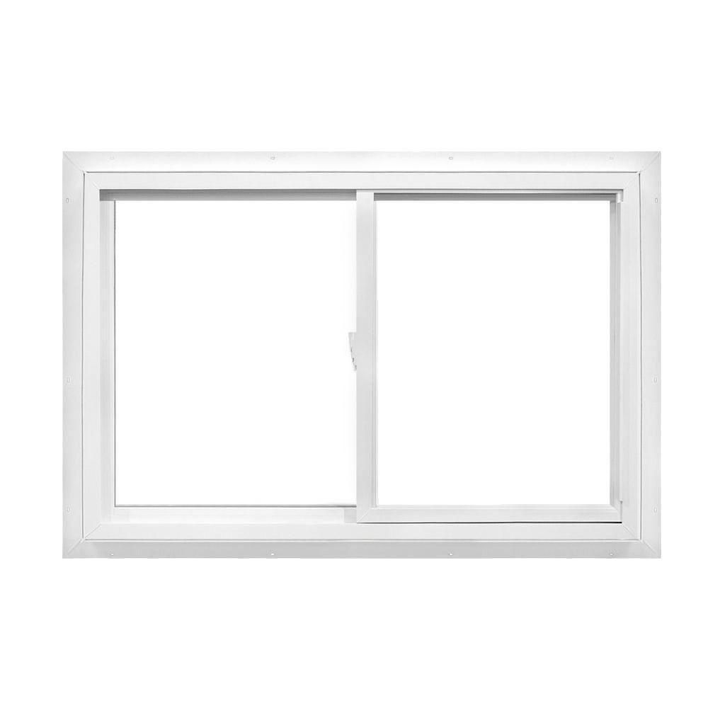 American Craftsman 36 In X 36 In 50 Series Right Hand Slider Lowe Sc Fin Vinyl Window White 50 Slider Fin Ls The Home Depot Sliding Vinyl Windows American Craftsman Window Vinyl