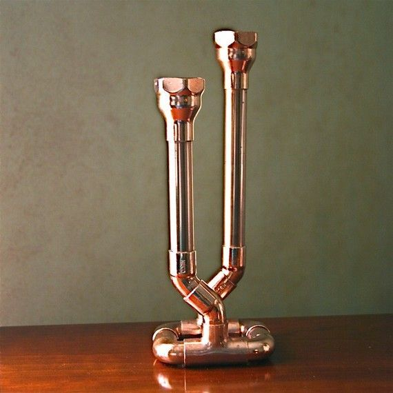 Industrial Decor Copper Pipe Candlestick Candle By McGdesign