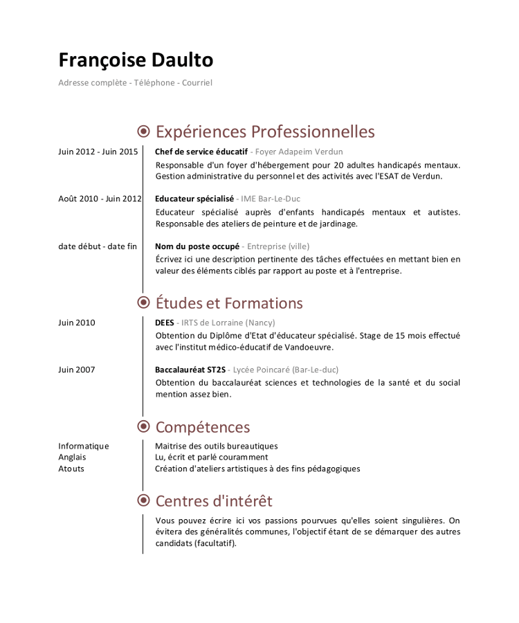 Exemple De Cv Educateur Specialise Exemple Cv Educatrice De Jeunes Enfants Curriculum Vitae