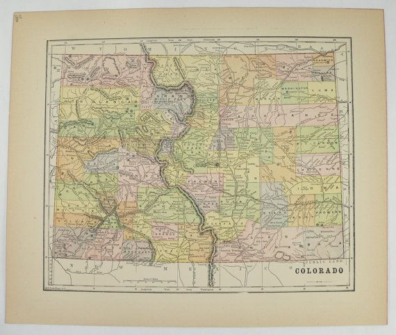 Antique Colorado Map Vintage Map Of Colorado State County Map - 1896 map of us