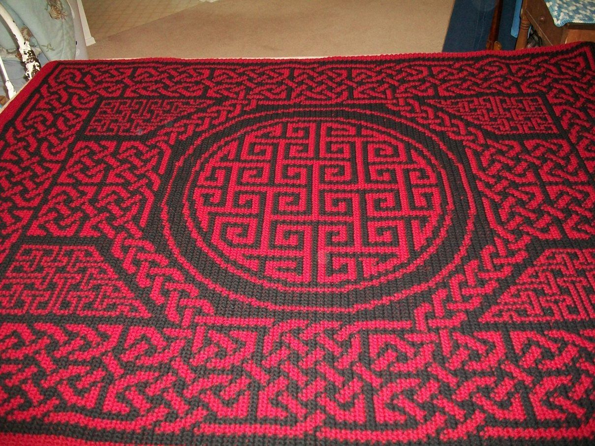 Crochet Wedding Gift: Crocheted Celtic Design Afghan