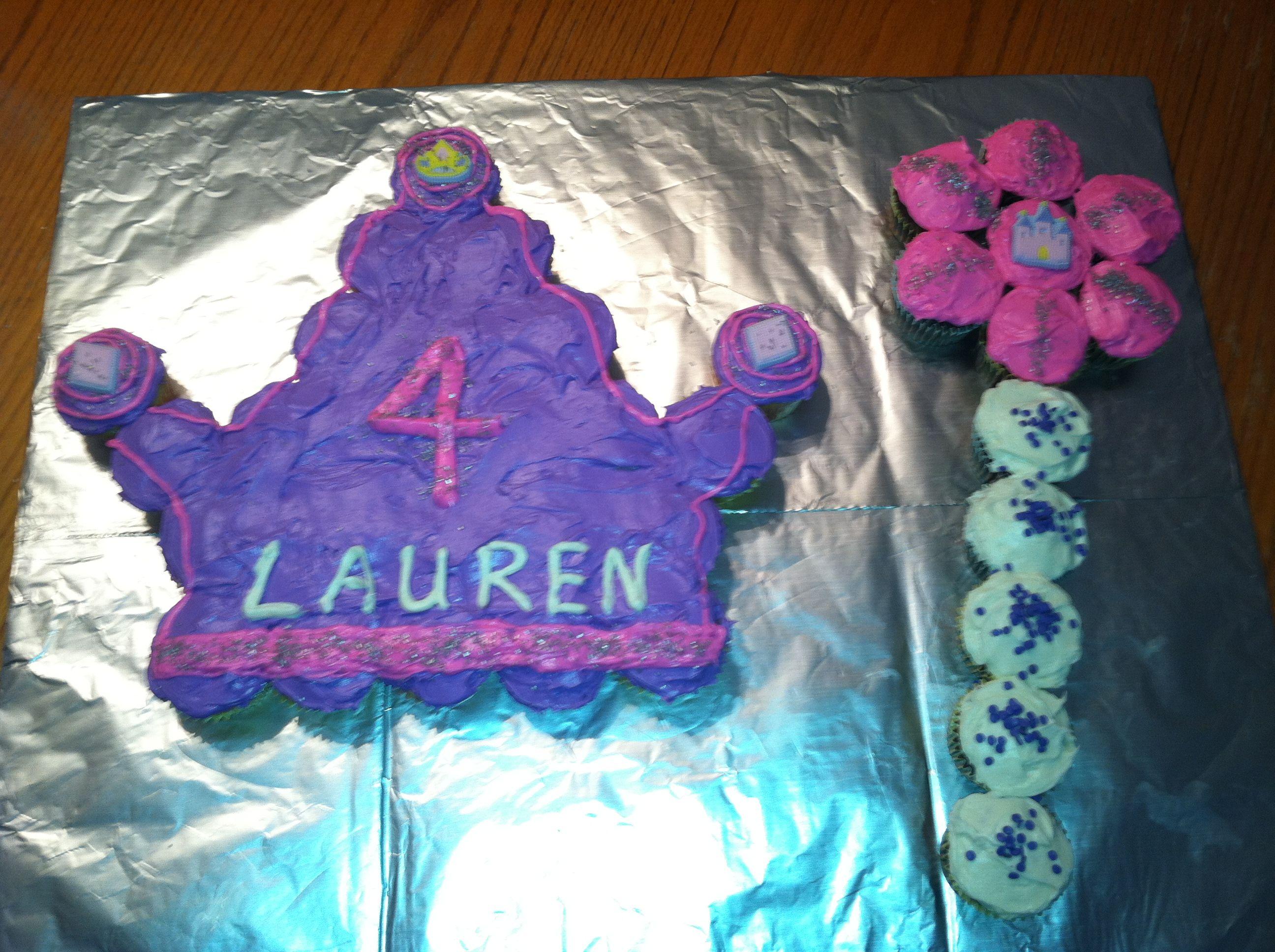 Princess Tiara And Wand Cupcake Cake