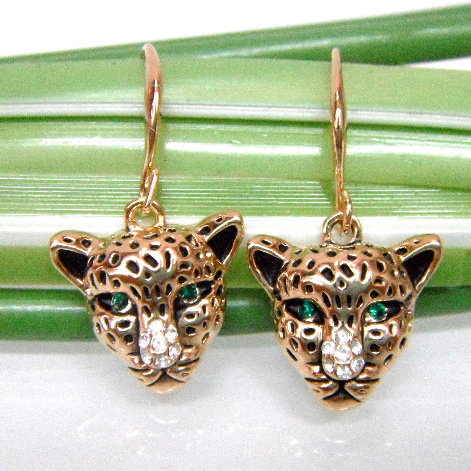 8ad4ea292 18K Gp Cheetah Leopard Head Rhinestone Crystal Earrings Ear Nail E1384