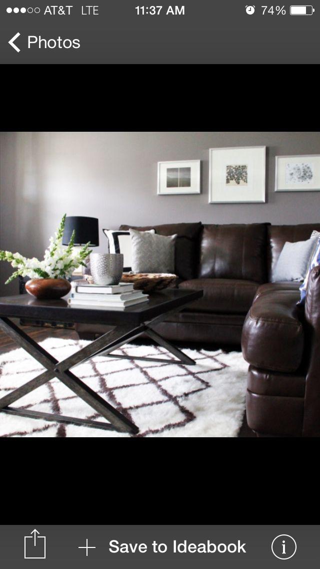 Brown sofa gray walls. Lys matte