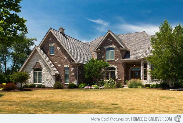 image stone and brick exterior french country home | cozy cottage ...