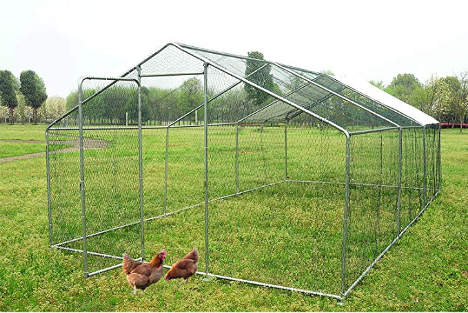 Amazon Com Walsport Large Chicken Coop Walk In Metal Hen Cage With Waterproof Cover Enclosure Playpen For Backyard Backyard Farming Backyard Lawn And Garden