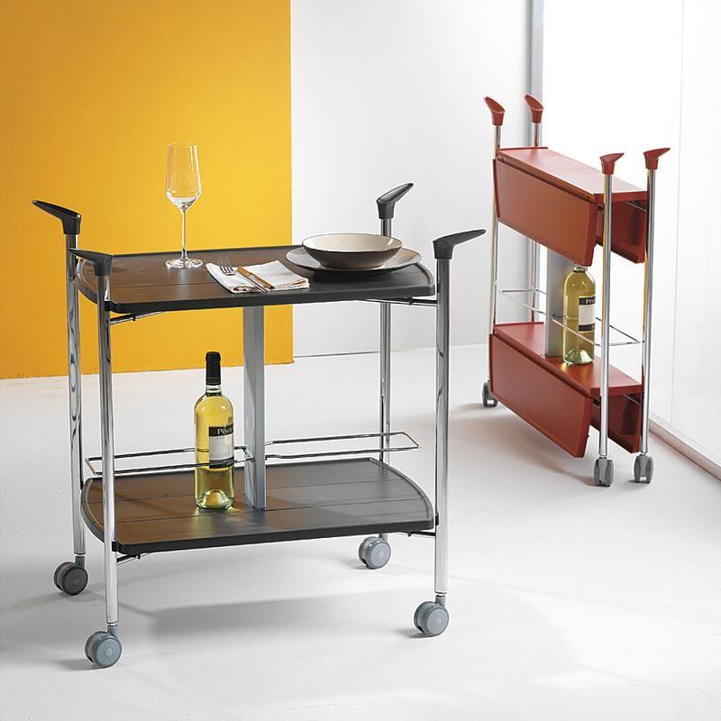Carrello portavivande multifunzioni richiudibile grigio in soli 15 cm ripiani in abs struttura - Carrelli porta vivande ...