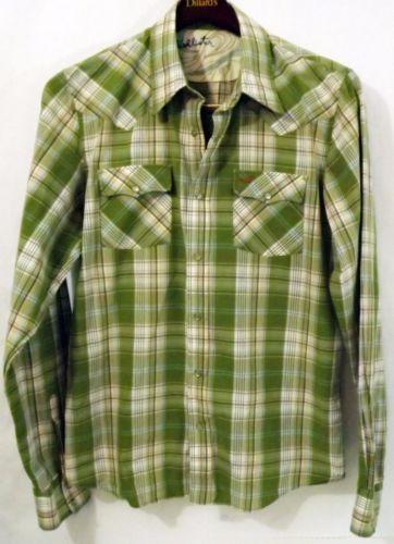 74a2f7f9d9 LN Vintage Men's Hollister L Green Plaid Western Pearl Snap Button LS Shirt