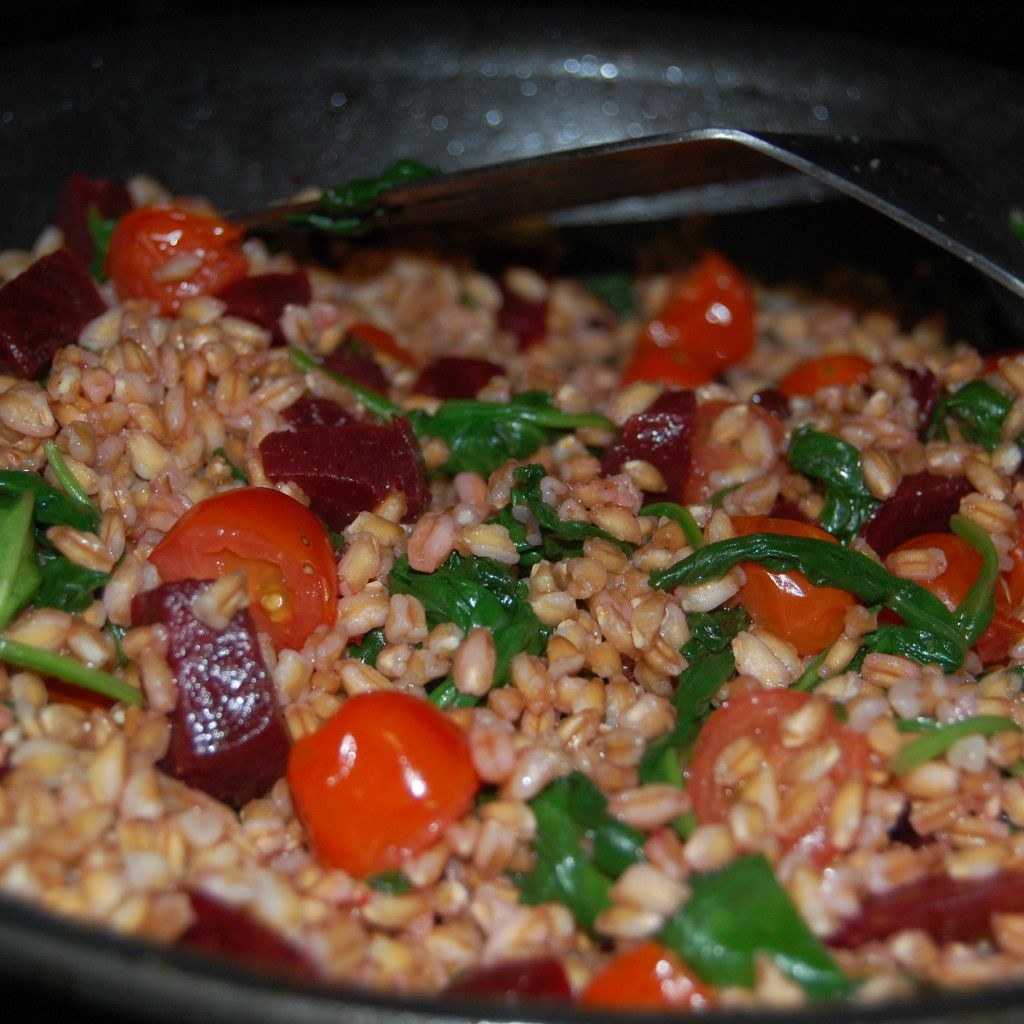 Warm Farro Bowl with Beets and Goat Cheese