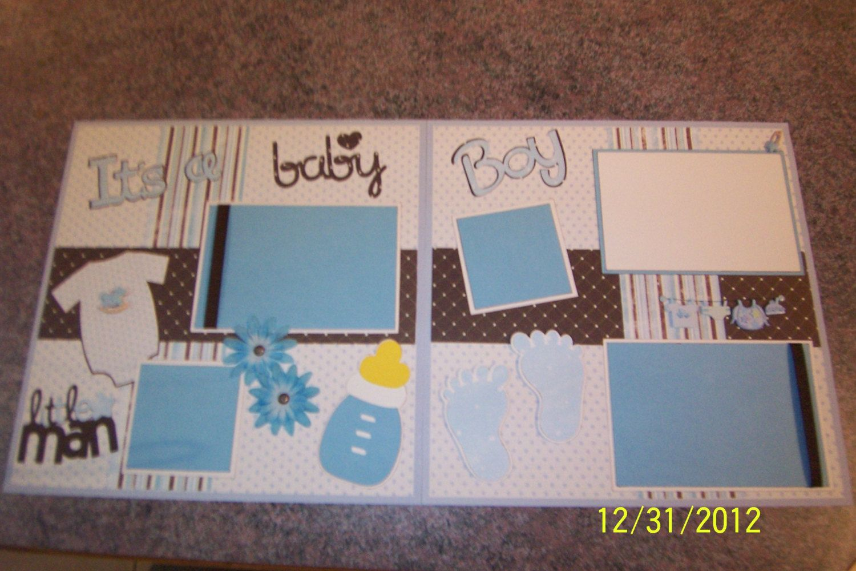 Baby Boy Cricut Premade Scrapbooking Page (1 page 12X12).  via Etsy.