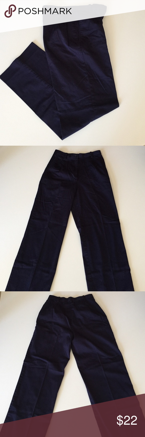 """Dialogue Navy Stretch Cotton Pants Excellent condition. Navy. 97% cotton, 2% spandex. 2 side pockets. Full elastic hidden waistband. Waist 26"""". 29"""" inseam. 10.5"""" rise. Not from a smoke-free house. Dialogue Pants Trousers"""