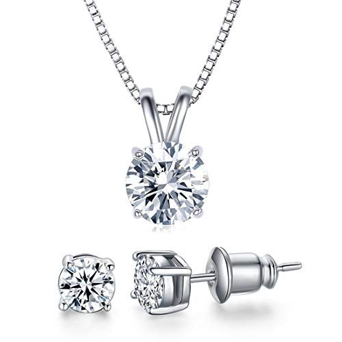 5090537d5 UMODE 18K White Gold Plated Cubic Zirconia Jewelry Set for Women-2 Carat CZ  Solitaire