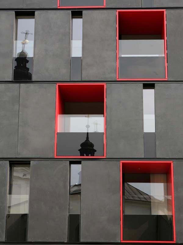 Strukturierte Platten aus Glasfaserbeton  Fassade