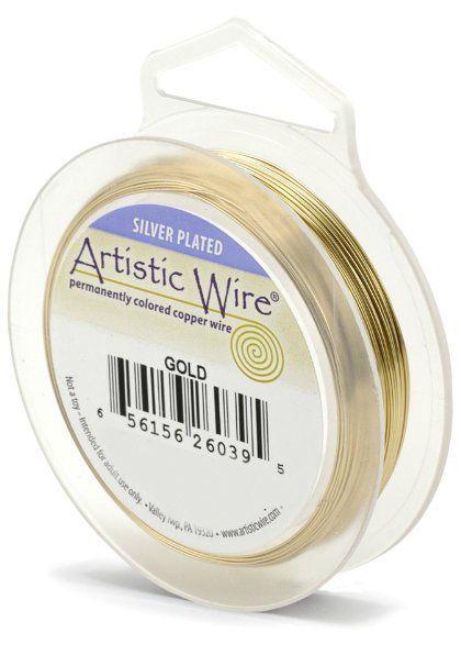 Artística alambre 20 calibre del cable, color oro, 25 pies