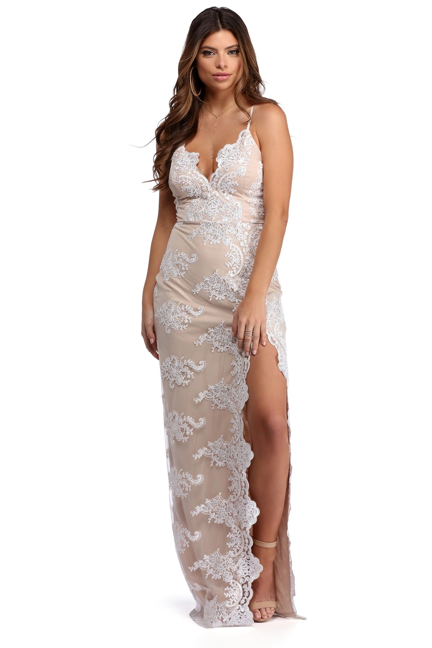 77e74bcc8ab Madelyn White Beaded Lace Dress