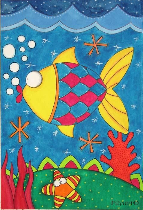 kids+fish+canvas+paintings | Pilyart - Fish Art Canvas - Murals For Kids