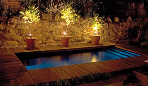 Plunge Pool Beautifully Lit At Night Simple Pool Backyard Pool Small Pools