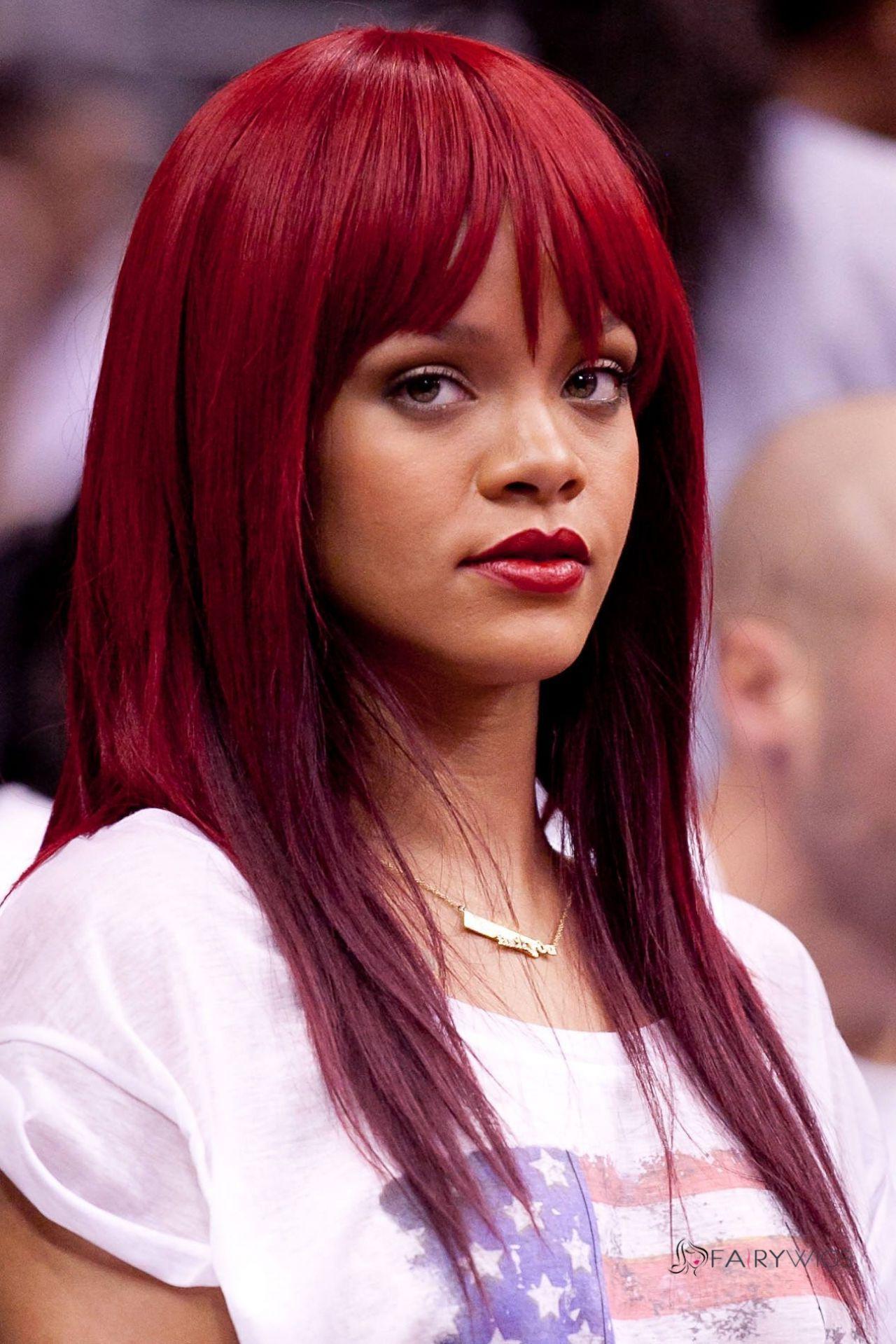 Rihannas Red Hair Bangs Hairspiration Pinterest Red Hair