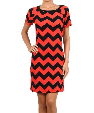 Coral & Black Chevron Sheath Dress #zulily #zulilyfinds