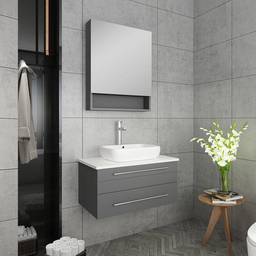 Fresca 30 Inch Lucera Single Sink Floating Vanity With Top Vessel Sink And Medicine Cabinet Gray Fvn6130gr Vsl Modern Bathroom Vanity Single Sink Bathroom Vanity Bathroom Sink Vanity [ 900 x 900 Pixel ]