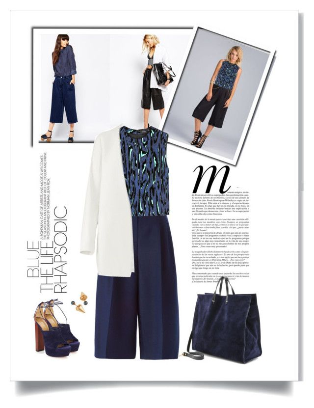 """""""Navy Blue"""" by dmschar ❤ liked on Polyvore featuring SELECTED, Valentino, Just Female, Proenza Schouler, Whiteley, Aquazzura, Clare V., Non and Vita Fede"""