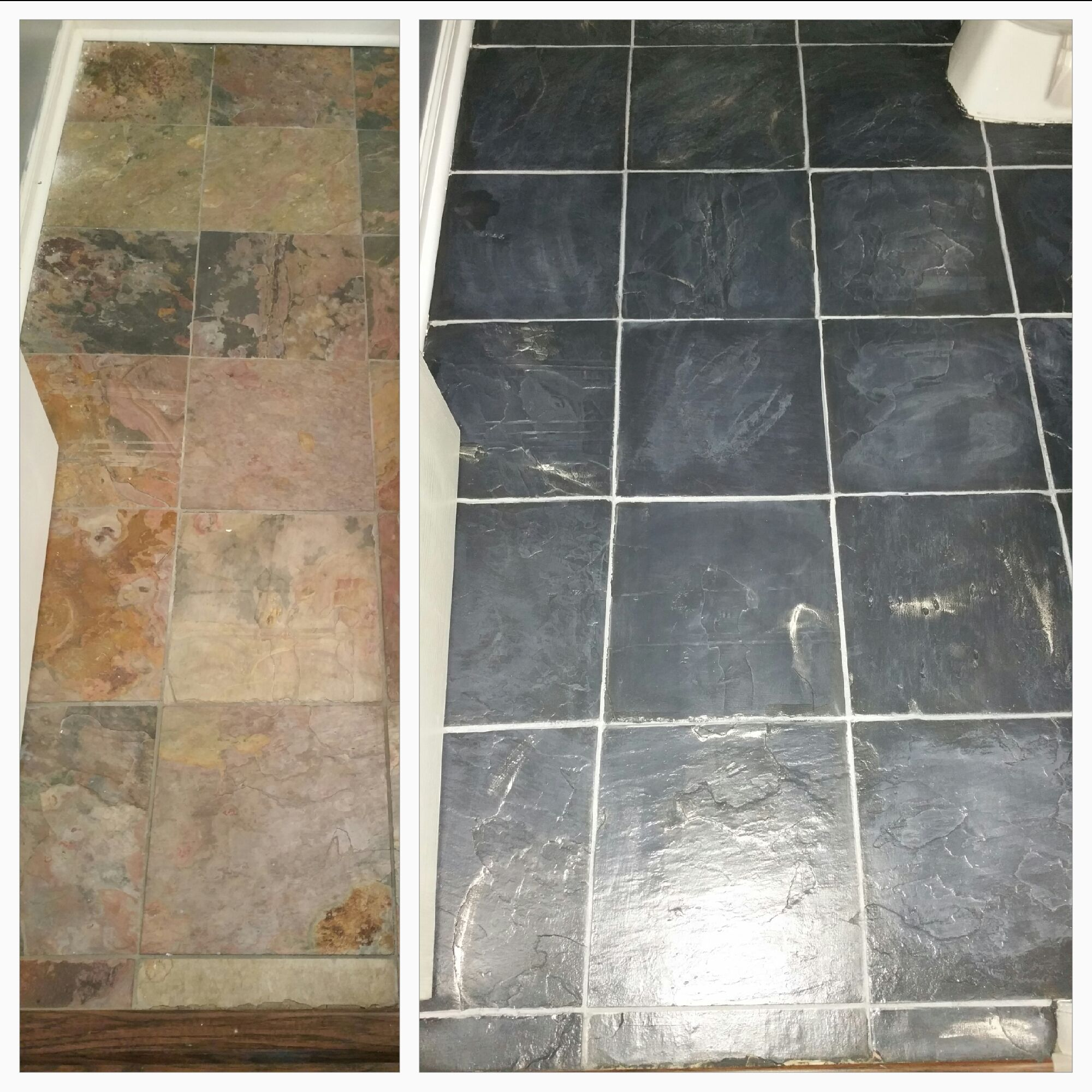 I Painted These Slate Tiles In Graphite With A Paris Grey Wash Pewter Wax Is Applied In No Pa Painting Ceramic Tile Floor Slate Flooring Painting Tile Floors