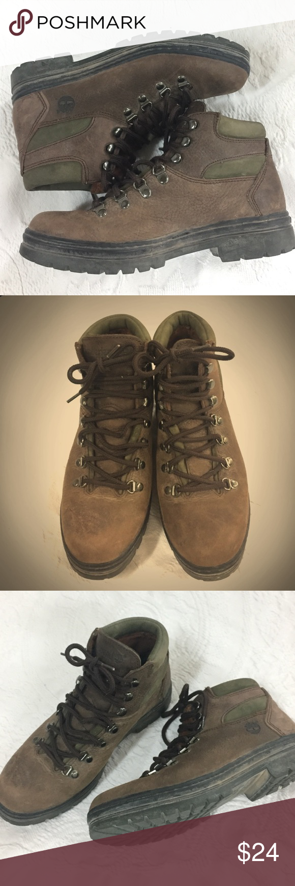 5a1ac0a502a3b 1990s Vintage Timberland Logger Hiking Boots Preloved but still in good  condition. Treads in very good condition. Women's size 9. Men's size 7.