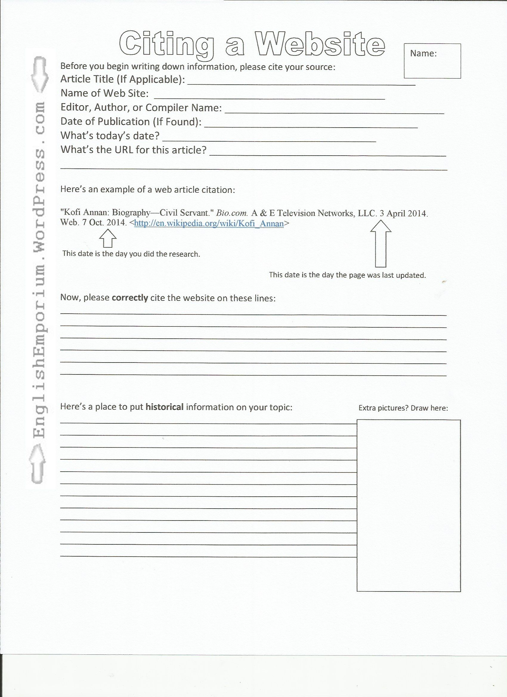 Worksheet How To Cite A Website